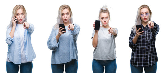 Collage of beautiful blonde young woman using smartphone over isolated background pointing with finger to the camera and to you, hand sign, positive and confident gesture from the front