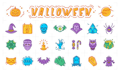 Halloween icon set, Pumpkin, vampire, witch, bat and other Halloween badges. Isolated multicolored bright Halloween symbols. Vector illustration