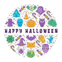 Happy Halloween card. Halloween circle infographics, trendy line art icons. Colorful Halloween icons for poster, tags, banners, flyers, stickers. Vector flat illustration