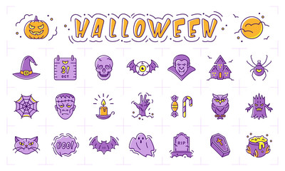 Halloween icon set. Pumpkin, ghost, scary wood. Vampire, frankenstein, witch, bat and other Halloween icons. Vector isolated Halloween symbols