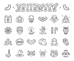 Halloween icon set. Thin line art Halloween symbols, Vector flat illustration
