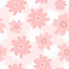 Seamless pattern with abstract flowers drawn by hand with a watercolour brush. Cute feminine floral print. Sketch, watercolor, paint.