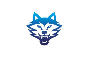 Creative Angry Blue Wolf Head Logo Symbol Vector Illustration
