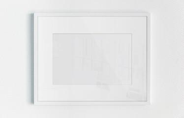 White rectangular horizontal frame hanging on a white wall mockup 3D rendering