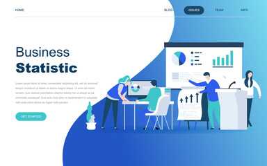Modern flat design concept of Business Statistic for website and mobile website development. Landing page template. Consulting for company performance, analysis. Vector illustration. Fototapete