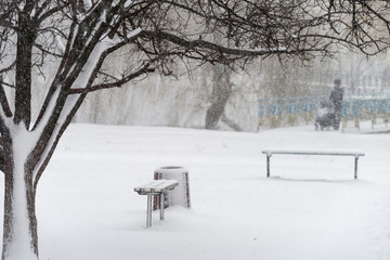 A snowstorm in the city. Snow-covered benches, trees and silhouettes of pedestrians. Selective focus.