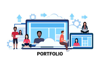 businesspeople using gadgets online resume information portfolio concept mix race people communication flat horizontal vector illustration