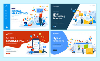 Set of web page design templates for digital marketing, mobile solutions, networking and email marketing. Modern vector illustration concepts for website and mobile website development.