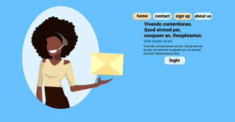 african american headset woman holding paper envelope chat online support service concept call center operator female cartoon character portrait horizontal blue background flat vector illustration