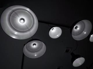 Lamps in a Bar with Black Background