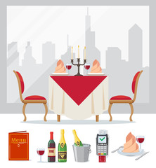 Set of restaurant colorful icon in flat style, cafe. Served table, wine, champagne in bucket of ice, menu, payment terminal. Vector illustration.