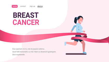 breast cancer day running sport woman pink ribbon awareness prevention concept poster female cartoon character full length horizontal copy space flat vector illustration