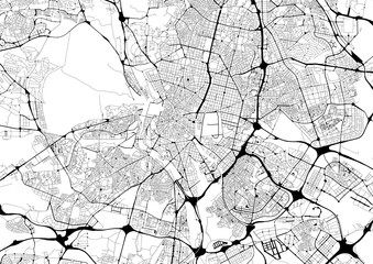 Monochrome city map with road network of Madrid