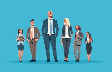 business people team leader leadership concept businessmen women blue background male female cartoon character full length horizontal flat vector illustration