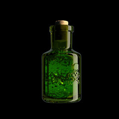 A glass vial with a skull and bones and a green substance inside. Poison, venom. poisoning, political murder danger, toxicity. 3d rendered illustration