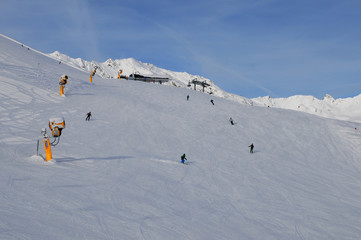 Austria: Winter sport in Sölden snow mountains at gaislachkogl in the tyrolean alps