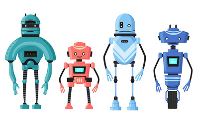 Cute detailed robot set vector isolated on white. Cartoon robotic character