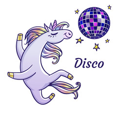 The cartoon unicorn on the disco. Vector illustration