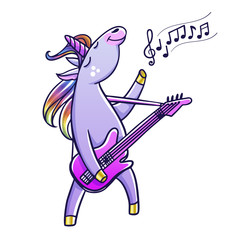 Cute unicorn playing guitar