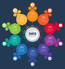 Education, technology, industry or science concept with 10 processes, values, parts, options or steps. Business presentation. Infographic template. Vector.