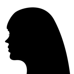 Silhouette of a woman head on a white background