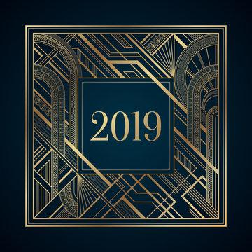 Gold art deco 2019 new year frame on dark background