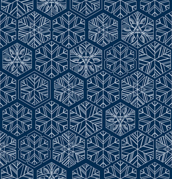 Dark blue geometric snowflakes winter seamless pattern