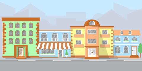 city street with the facades of houses and the roadway. flat style vector illustration. eps10