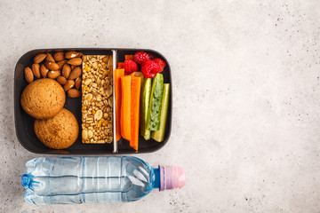 Photo sur Plexiglas Assortiment Healthy meal prep containers with cereal bar, fruits, vegetables and snacks. Takeaway food on white background, top view.
