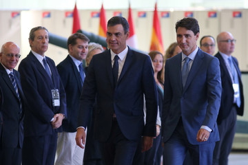 Canadian PM Justin Trudeau welcomes Spanish PM Pedro Sanchez in Montreal