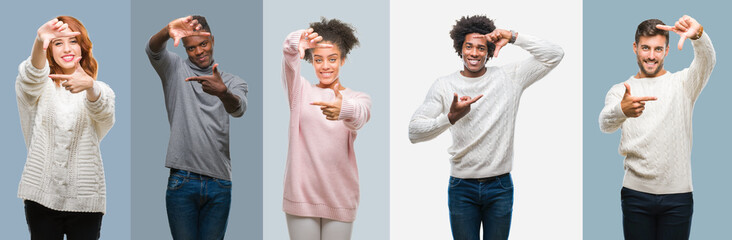 Collage of group of african american and hispanic people wearing winter sweater over vintage background smiling making frame with hands and fingers with happy face. Creativity and photography concept.