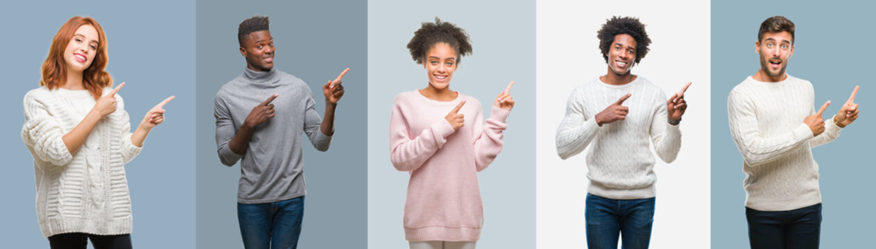 Collage of group of african american and hispanic people wearing winter sweater over vintage background smiling and looking at the camera pointing with two hands and fingers to the side.