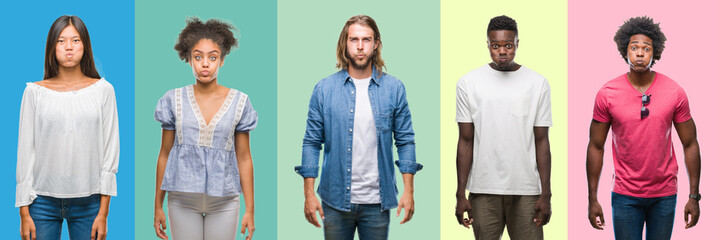 Composition of african american, hispanic and chinese group of people over vintage color background puffing cheeks with funny face. Mouth inflated with air, crazy expression.
