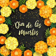 Decorative background with orange marigolds, symbol of mexican holiday Day of dead. Vector illustration
