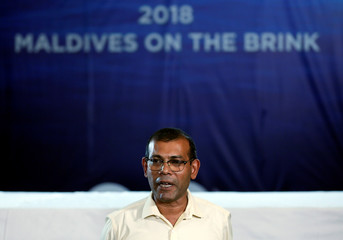 Maldives former President Nasheed speaks to the media at the end of the Maldives presidential election day at a hotel in Colombo