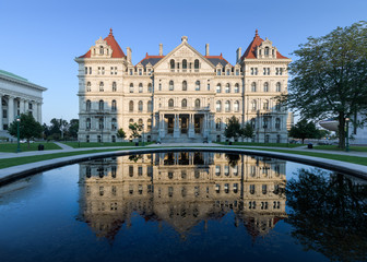 New York State Capitol and reflection from West Capitol Park in Albany, New York