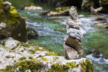 Zen stones at Vintgar gorge, Slovenia, Beautiful environmental place