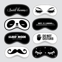 Sleeping mask design set. Vector vintage illustration.