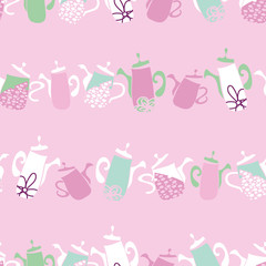 vector pink and green Garden Tea Party linear geometric seamless pattern background with funky teapots. Perfect for fabric, scrapbooking, giftwrap, wall paper projects, stationary, quilting.