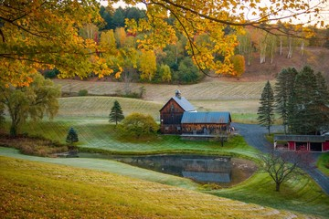Frosty Autumn morning reflection in Vermont