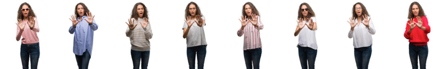 Composition of young brazilian woman isolated over white background afraid and terrified with fear expression stop gesture with hands, shouting in shock. Panic concept.