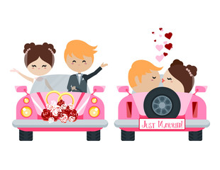 Wedding car with the bride and groom.Front and rear views. Isolated background. Vector
