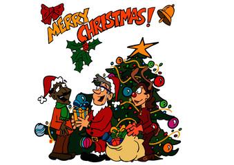 Merry Christmas in the Office Bernard, Sophie, Raj