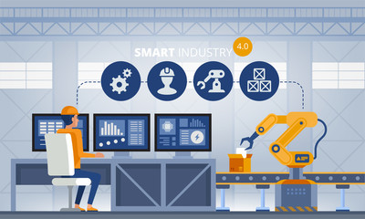 Industry 4.0 Smart factory concept. Technology vector illustration