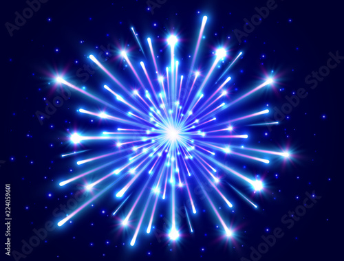 color neon firework in the night sky new year background celebration