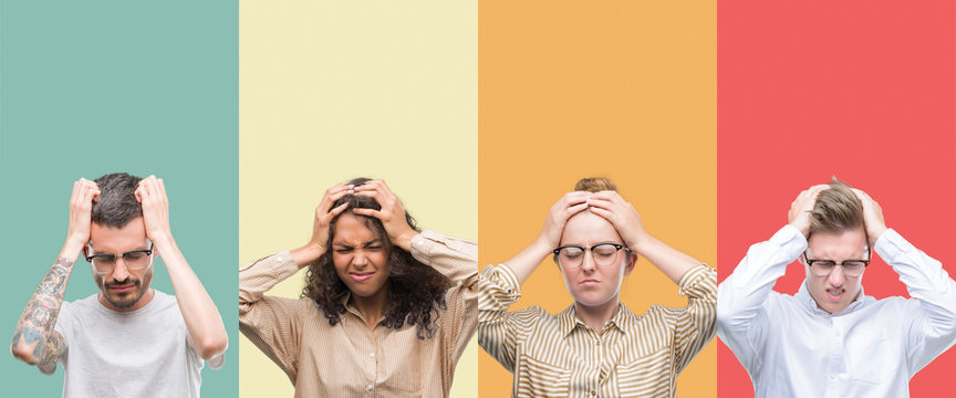 Collage of a group of people isolated over colorful background suffering from headache desperate and stressed because pain and migraine. Hands on head.