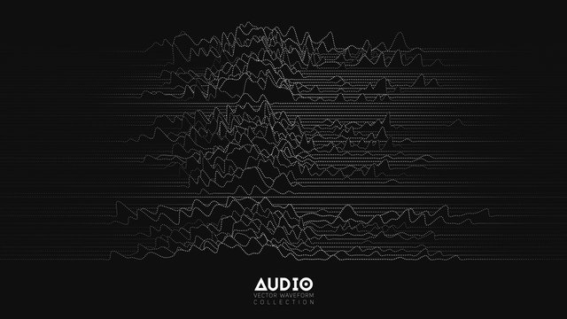 Vector 3d echo audio wavefrom spectrum. Abstract music waves oscillation graph. Futuristic sound wave visualization. Black and white dotted impulse pattern. Synthetic music technology sample.