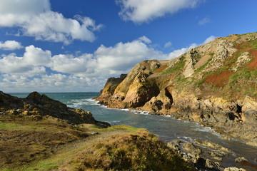 Le Pulec, Jersey, U.K. Autumn coastal landscape.