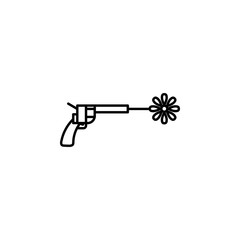 revolver with a flower icon. Element of peace icon for mobile concept and web apps. Thin line revolver with a flower icon can be used for web and mobile
