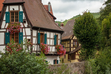 retail of traditional medieval architecture in the alsatian village of Kaysersberg near Colmar - France